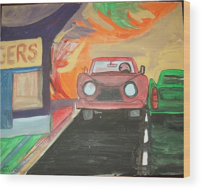 Drive In Wood Print featuring the painting Drive In by James Christiansen
