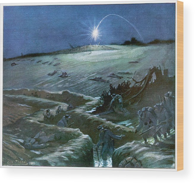 Flares Wood Print featuring the drawing Flares Illuminate The Desolate by Mary Evans Picture Library