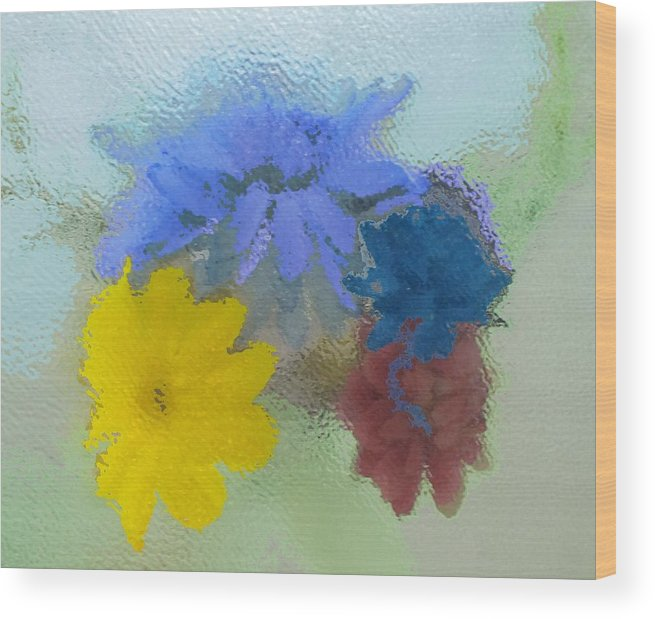 Flowers Wood Print featuring the painting Flowers Behind Glass by Peni Baker