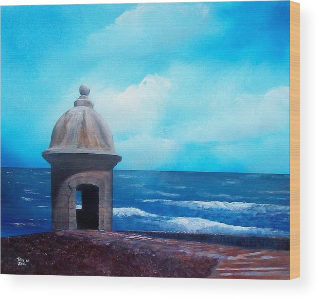 Garrita Del Diablo Wood Print featuring the painting Garrita Del Diablo by Tony Rodriguez