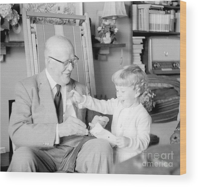 Grandfather Wood Print featuring the photograph Grandfather Plays With Child by Julie Von Knorr Wedekind