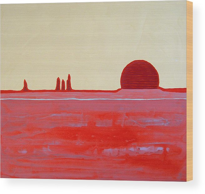 Painting Wood Print featuring the painting Hoodoo Sunrise Original Painting by Sol Luckman