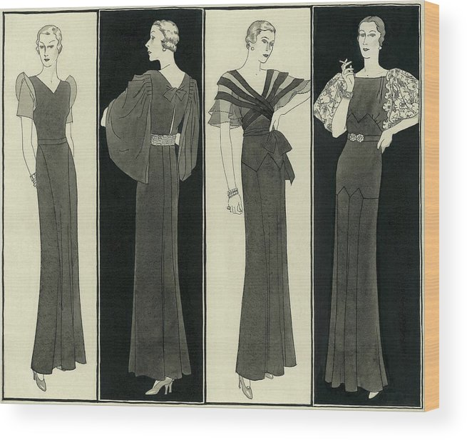 Illustration Wood Print featuring the digital art Illustration Of Four Women In Evening Dresses by Polly Tigue Francis