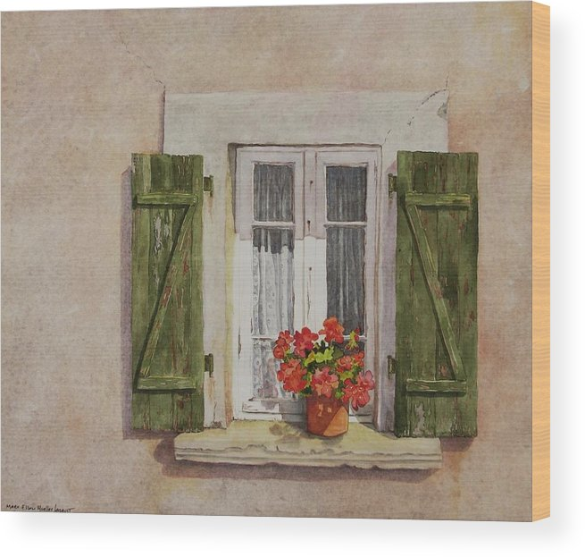 Watercolor Wood Print featuring the painting Irvillac Window by Mary Ellen Mueller Legault