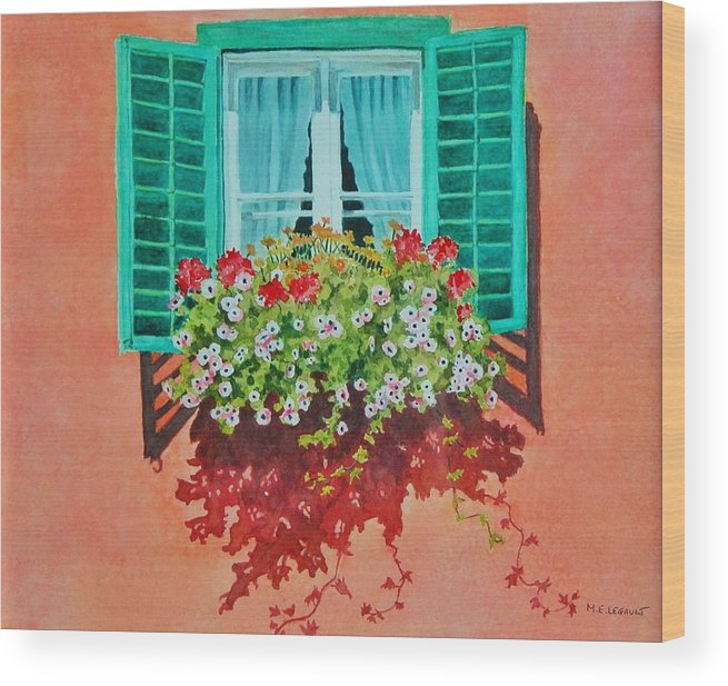 Window Box Wood Print featuring the painting Kitzbuhel Window by Mary Ellen Mueller Legault