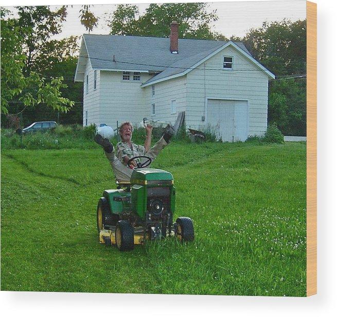 Matt Wood Print featuring the photograph Matt Loves Mowing by Susan Wyman