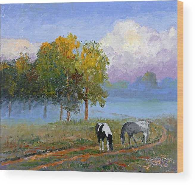 Landscape Wood Print featuring the painting Morning At Foggy Bottom by Tommy Thompson