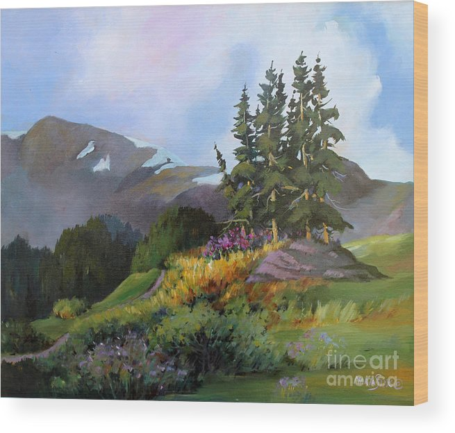 Landscape Wood Print featuring the painting Mt. Rainier 2 by Marta Styk
