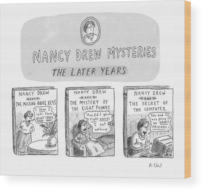 Old Age Wood Print featuring the drawing New Yorker June 22nd, 1998 by Roz Chast