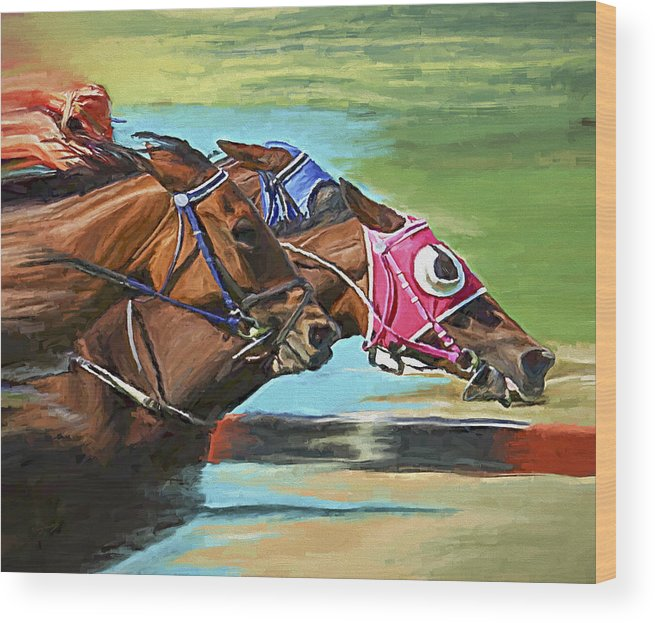 Horses Wood Print featuring the painting Nikita By A Head by David Wagner