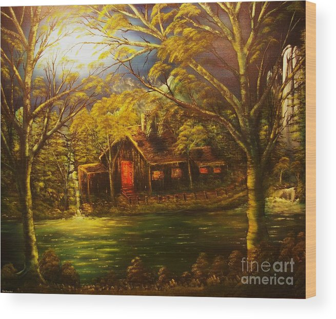 Cottage Wood Print featuring the painting Norwegian Evening Glow- Original Sold - Buy Giclee Print Nr 31 Of Limited Edition Of 40 Prints by Eddie Michael Beck