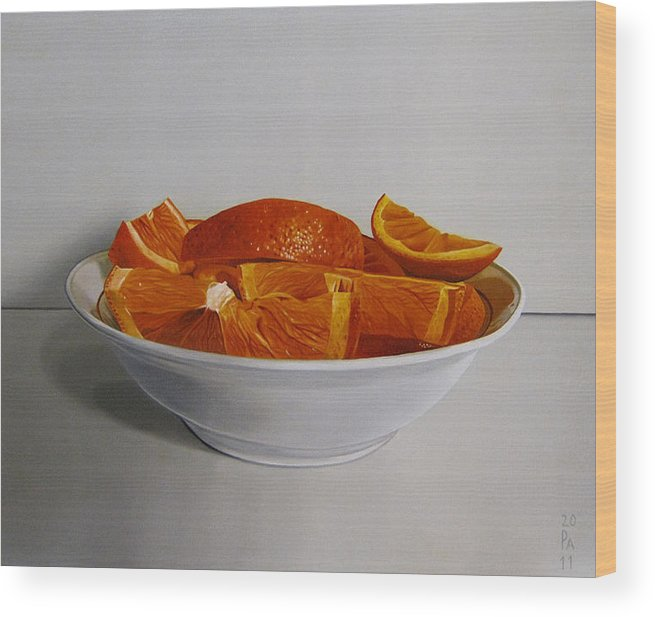 Orange Wood Print featuring the painting Orange by Andrej Cesiulevic