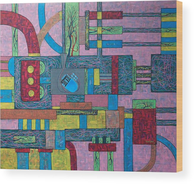 Pacemarker Wood Print featuring the painting Pacemarker In Circulation by Plata Garza