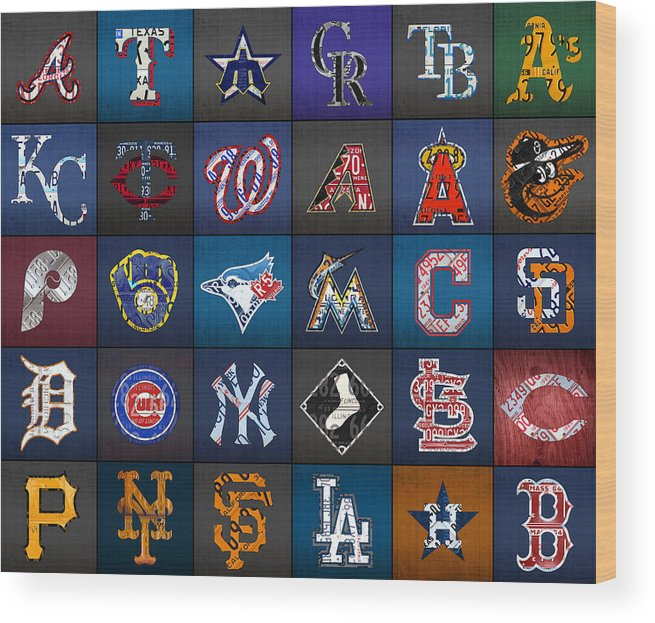 Play Wood Print featuring the mixed media Play Ball Recycled Vintage Baseball Team Logo License Plate Art by Design Turnpike