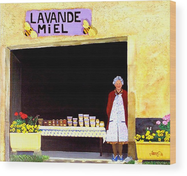 Honey Wood Print featuring the painting Provence Honey Shoppe by JoeRay Kelley