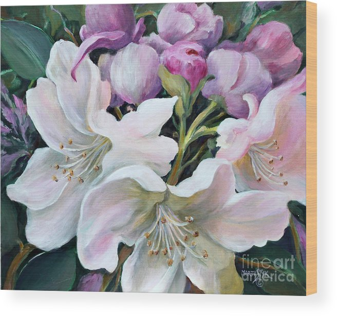 Flowers Wood Print featuring the painting Rhododendron by Marta Styk