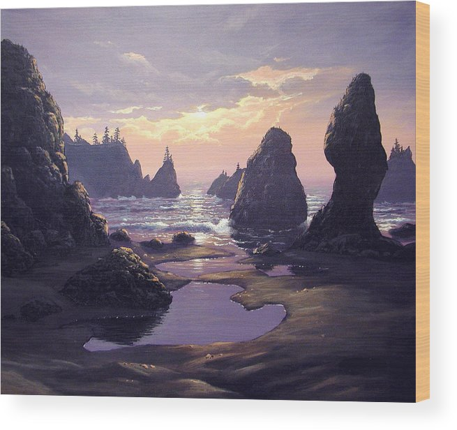 Ocean Wood Print featuring the painting Sunset At Point Of The Arches by Ian Henderson