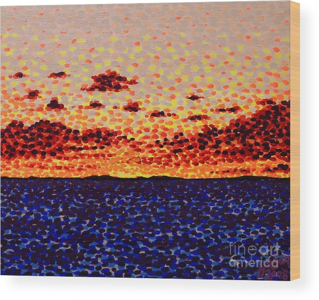 Sunset Wood Print featuring the painting Sunset At Sea by Alan Hogan