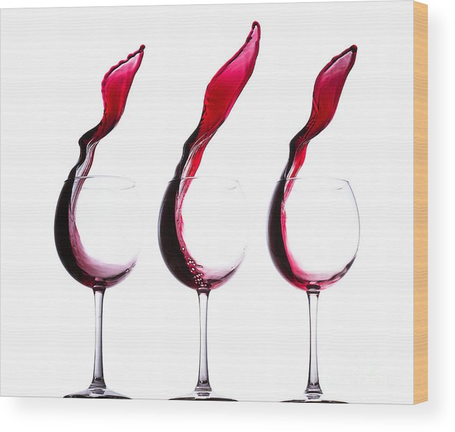 The Physics Of Wine Wood Print featuring the photograph The Physics Of Wine by Jordan Danko