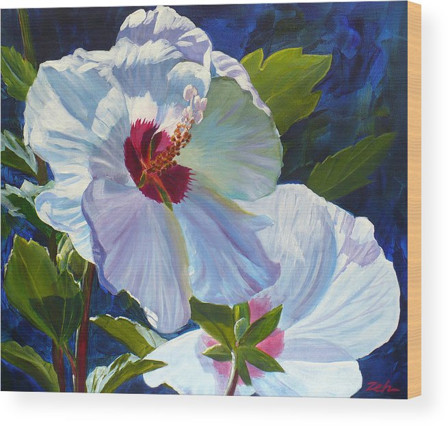 Rose Of Sharon Wood Print featuring the painting White Rose Of Sharon by Janet Zeh
