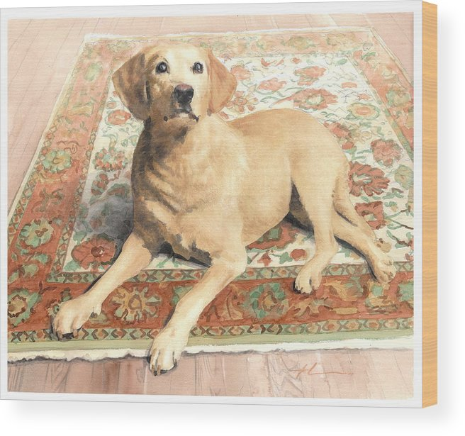 Miketheuer.com Yellow Lab On A Rug Watercolor Portrait Wood Print featuring the drawing Yellow Lab On A Rug Watercolor Portrait by Mike Theuer