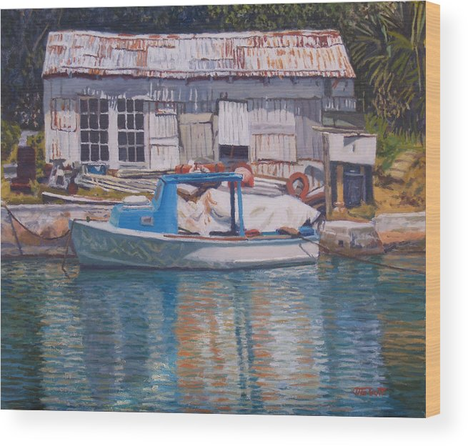 Bermuda Wood Print featuring the painting Boat And Shed St. David's by Otto Trott