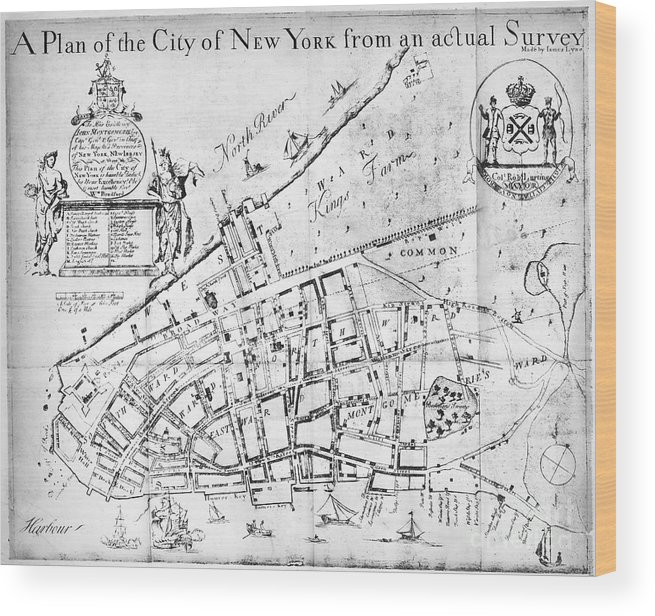 1730 Wood Print featuring the photograph New York Map, 1730 by Granger