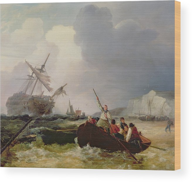 Boat Wood Print featuring the painting Rowing Boat Going To The Aid Of A Man-o'-war In A Storm by George Chambers