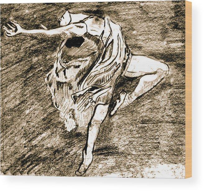 Sketch Wood Print featuring the drawing Dancer by Dan Earle