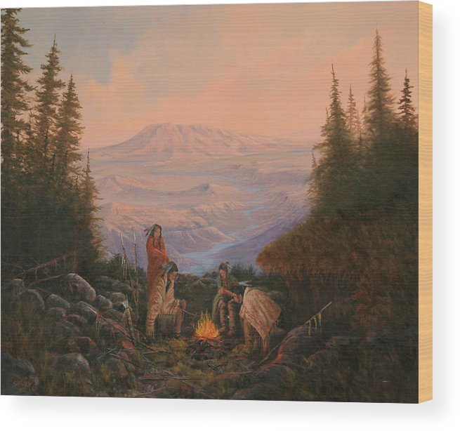 Landscape Wood Print featuring the painting 090307-2024  A Long Journey by Kenneth Shanika