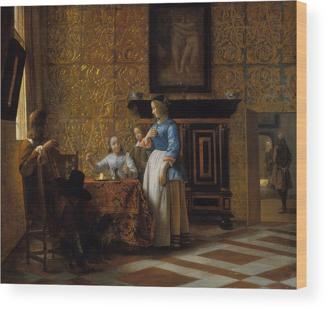 Baroque Wood Print featuring the painting Leisure Time In An Elegant Setting by Pieter de Hooch