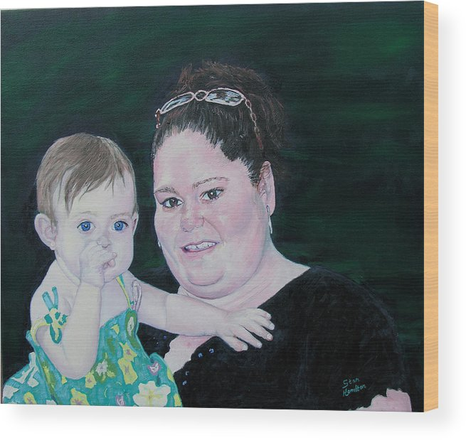 Portrait Wood Print featuring the painting Stephanie And Ella by Stan Hamilton