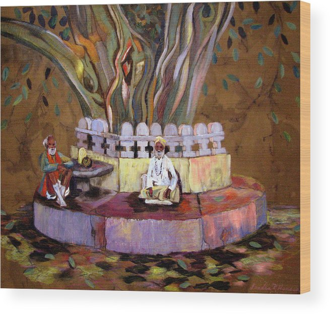 Banyan Tree Wood Print featuring the painting Under The Banyan Tree by Art Nomad Sandra Hansen