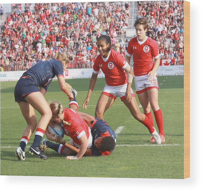 Rugby 7's Wood Print featuring the photograph Pam Am Games Womens' 7's by Hugh McClean