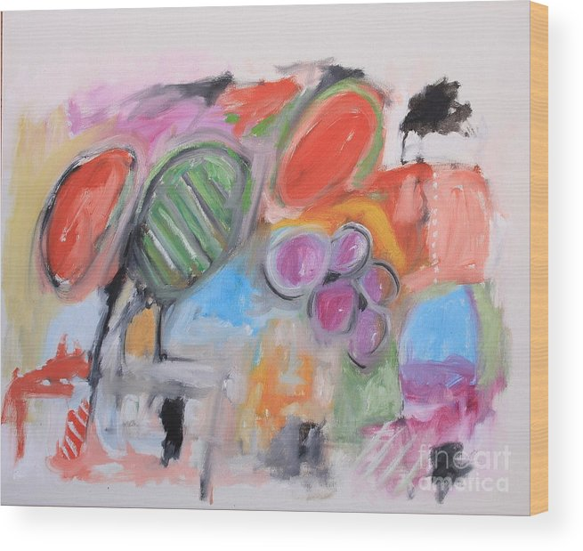 Abstract Wood Print featuring the painting Untitled by Michael Henderson