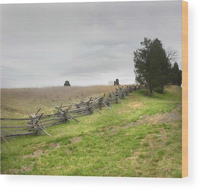 Fence Wood Print featuring the photograph A Fence At Manassas by Peter Williams