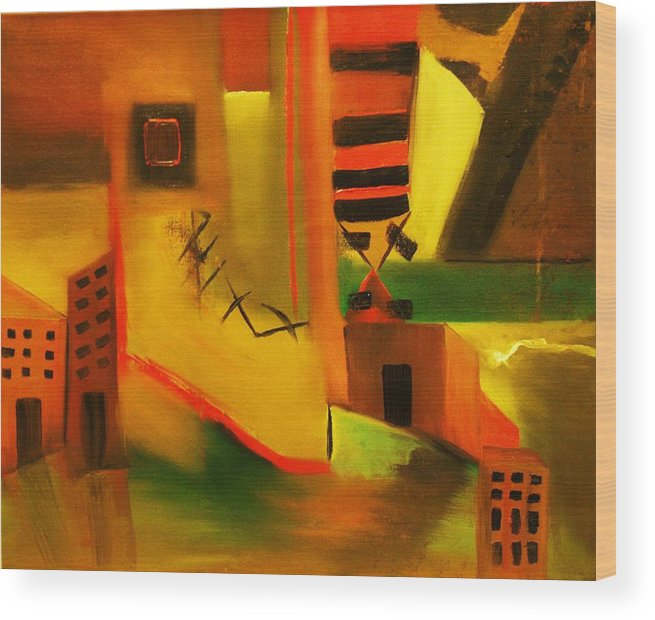 Abstract Wood Print featuring the painting Abstract Cityscape by Niki Sands