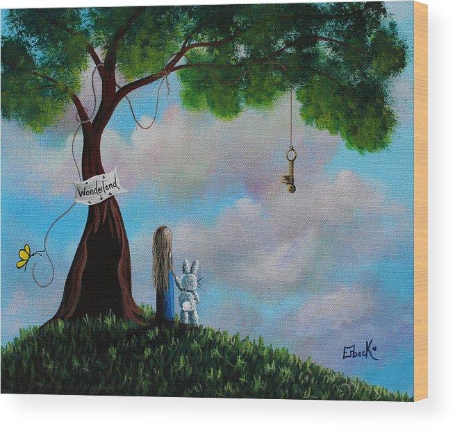 Alice In Wonderland Wood Print featuring the painting Alice In Wonderland by Erback Art