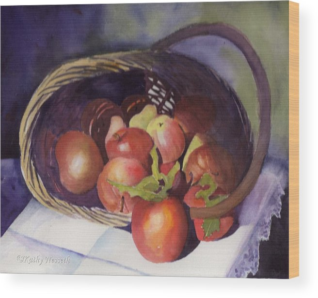 Watercolor Wood Print featuring the painting Apple Basket by Kathy Nesseth
