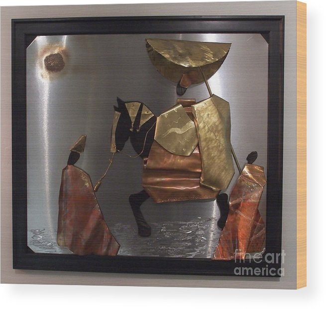 African King Scene Wood Print featuring the sculpture arrival of the Oba by Jeff Williams