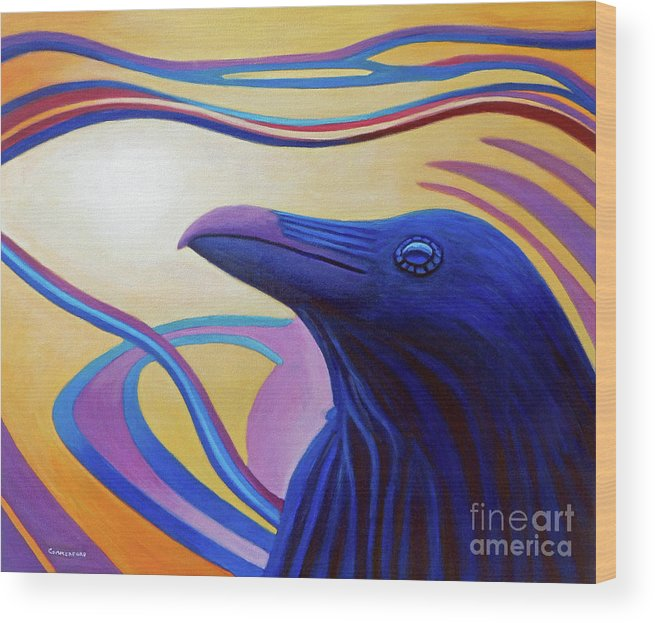 Raven Wood Print featuring the painting Astral Raven by Brian Commerford