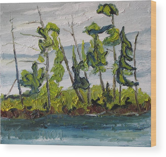 Landscape Wood Print featuring the painting At Burbue Lake No 2 by Francois Fournier