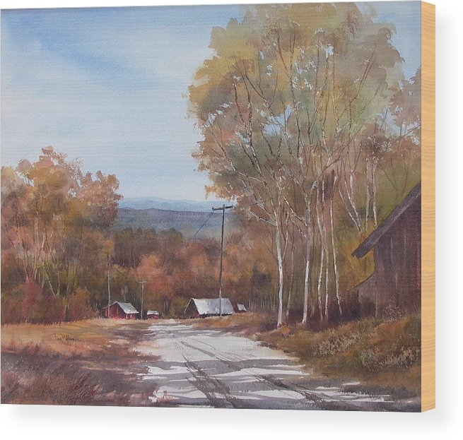 Landscape Wood Print featuring the painting Awesome Autumn by Tina Bohlman