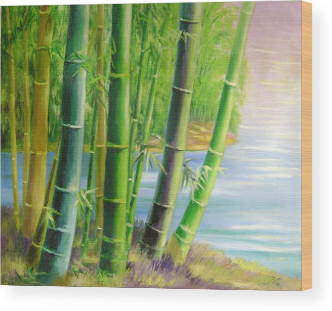 Trees Wood Print featuring the painting Bamboo Variegations by Lian Zhen