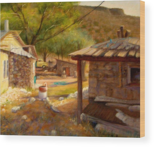 Realism Wood Print featuring the painting Below Taos 1 by Donelli DiMaria