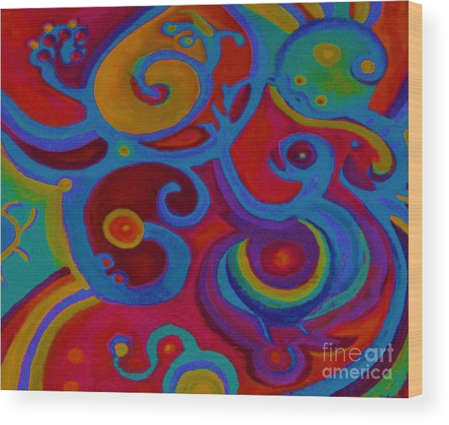 Abstract Wood Print featuring the painting Blue Corn Flower by Sidra Myers