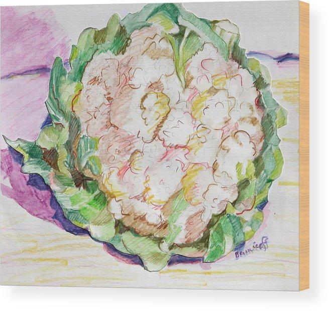 Cauliflower Wood Print featuring the painting Califlower by Jan Bennicoff