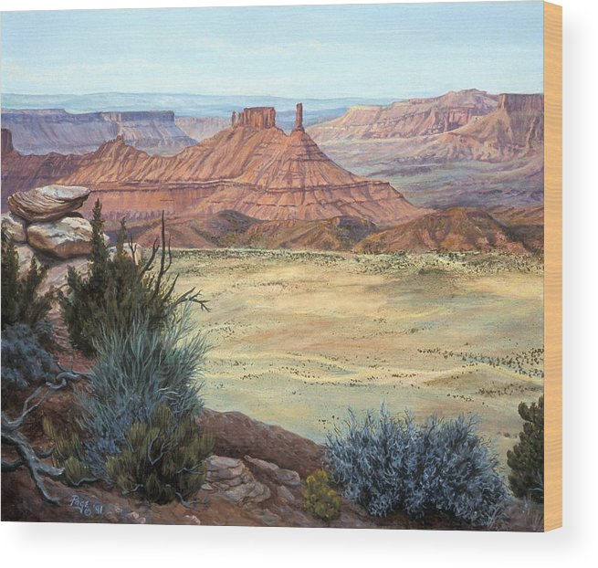 Landscape Wood Print featuring the painting Castle Rock Iv by Page Holland