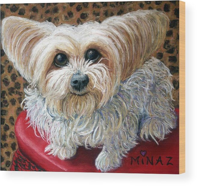 Dog Wood Print featuring the painting My Friend by Minaz Jantz