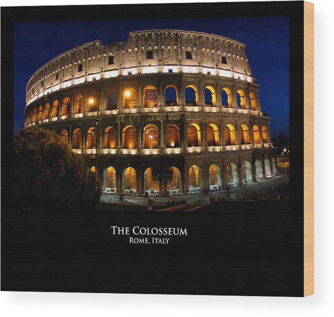 Italy Wood Print featuring the photograph Colosseum At Night by Alan Zeleznikar